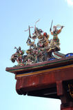 Malacca temple. Chinese temple with statues of chinese gods on the roof Royalty Free Stock Photo