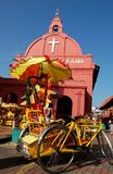 Malacca Tricycle & The Church Stock Photography