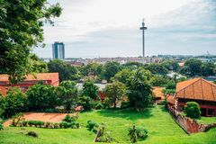 Malacca unesco village from St Paul`s Church in Malaysia stock photo