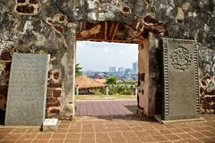 Malacca viewed from St Pauls. View of Malacca framed by arch of St Paul's Church stock photography