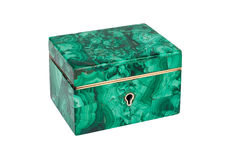 Malachite box, isolated on white. Background Royalty Free Stock Image