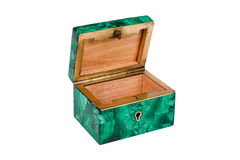 Malachite box, open. Isolated on white background Stock Photography