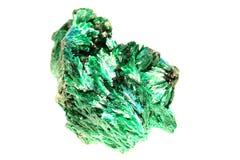 Malachite crystal isolated. On the white background royalty free stock photos