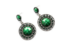 Malachite earrings Stock Photo
