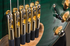 Malachite green electric guitar. strings Royalty Free Stock Image
