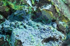 Malachite macro. Malachite is a blu green mineral with globes structures Stock Images