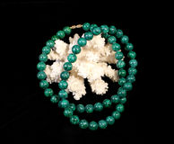 Malachite Necklace and Coral Royalty Free Stock Photo