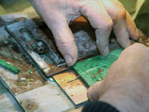 Malachite processing royalty free stock image