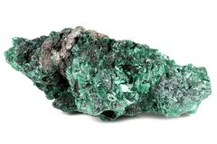 Malachite. From the Republic of Zambia, Africa isolated on white background royalty free stock images