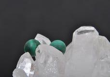 Malachite on rock crystal Royalty Free Stock Photos