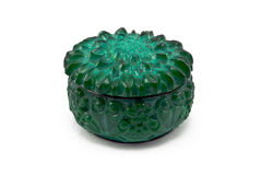 Malachite small box. On a white background royalty free stock images