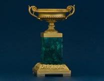 Malachite vase. Bronze gilded and malachite french style vase stock image