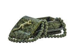 Malachitowi szkatuły i malachitu koraliki Obraz Stock