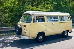MALACKY, SLOVAKIA – JUNE 2 2018: Volkswagen Microbus with the Westfalia camper conversion takes part in the run during the. Veteran car rally Kamenak stock photos