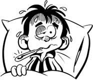 Malade d'enfant dans le vecteur Clipart de bande dessinée de lit Image stock