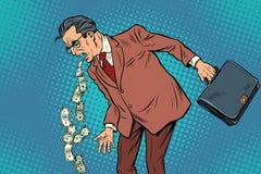 Malade d'homme d'affaires d'argent illustration de vecteur
