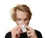 Malade et défectuosité avec une fièvre Images stock