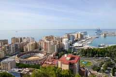 Malaga. Cityscape, Spain. View of bullring and port Stock Image