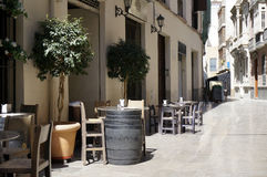 Malaga Alley Bar Table Stock Photo