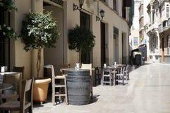 Malaga Alley Bar Table Stock Photo