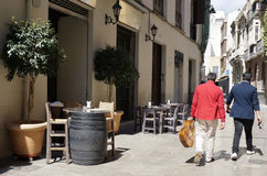 Malaga Alley Bar Table Royalty Free Stock Photo