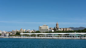 MALAGA ANDALUCIA/SPAIN - MAJ 25: Sikt av den Malaga horisonten in royaltyfri foto