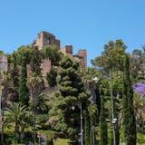 MALAGA ANDALUCIA/SPAIN - MAJ 25: Sikt av det Alcazaba fortet och arkivbild