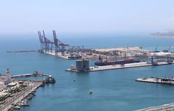 Malaga in Andalusia, Spain. Aerial view of port and the city Royalty Free Stock Image