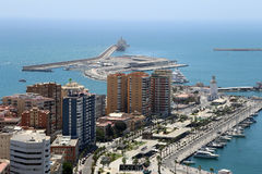 Malaga in Andalusia, Spain. Aerial view of port and the city Stock Image