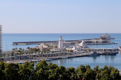 Malaga in Andalusia, Spain. Aerial view of port and the city Royalty Free Stock Photos