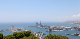 Malaga in Andalusia, Spain. Aerial view of port and the city Stock Photos