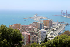 Malaga in Andalusia, Spain. Aerial view of port and the city Royalty Free Stock Photography