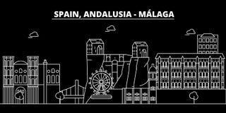 Malaga, Andalusia sylwetki linia horyzontu Hiszpania, Malaga wektorowy miasto -, hiszpańska liniowa architektura Malaga, Andalusi Zdjęcia Stock