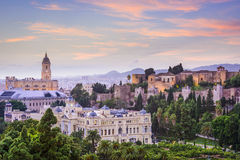 Malaga, arquitetura da cidade da Espanha no mar Imagens de Stock Royalty Free