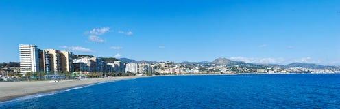 Malaga Beach and City Stock Image