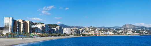 Malaga Beach and City Royalty Free Stock Image