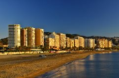 Malaga beach and hotels sunny morning in Andalusia Spain stock photography