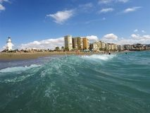 Malaga beach. Sea in foreground Royalty Free Stock Images