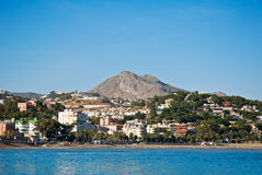 Malaga Beach - View from the Sea Royalty Free Stock Photography