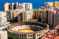 Malaga bullring. View of Malaga bullring  from height of  Castillo de Gibralfaro Royalty Free Stock Photography