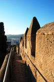 Malaga castle battlements. Stock Image