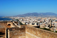 Malaga castle and cityscape. Royalty Free Stock Image