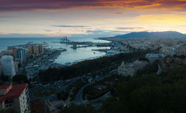 Malaga from castle in  evening Stock Images