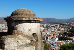 Malaga castle tower. Stock Photo