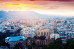 Malaga with Cathedral in dawn.  Spain Royalty Free Stock Image