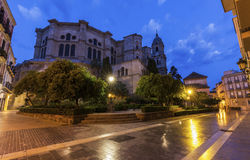 Malaga Cathedral at night Royalty Free Stock Photos