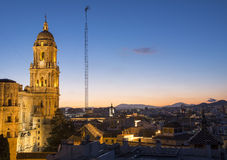 Malaga Cathedral after sunset Royalty Free Stock Photo