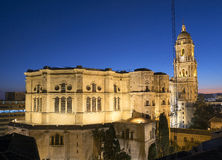 Malaga Cathedral after sunset Royalty Free Stock Photos