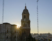 Malaga Cathedral at Sunset Royalty Free Stock Photos
