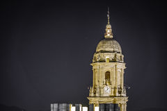 Malaga Cathedral tower by night Royalty Free Stock Images